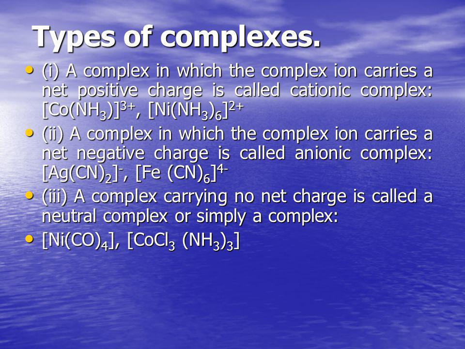 Types of complexes. (i) А complex in which the complex ion carries а net positive charge is called cationic complex: [Co(NН3)]3+, [Ni(NH3)6]2+